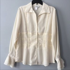 Goldwater Creek Ivory Lg Button Lace Blouse